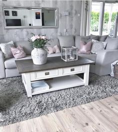 New Living Room Grey Blush Coffee Tables Ideas Living Room Decor Cozy, Living Room Grey, Home Living Room, Interior Design Living Room, Living Room Designs, Living Room Ideas Modern Grey, Coffee Table Grey Living Room, Living Room Decor Silver, Grey Loving Room Ideas