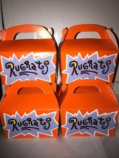Rugrats party favor box in set included 12 If personalizing leave name or what you would like it to say in box in comments. 1st Birthday Party Themes, Baby Boy 1st Birthday, Birthday Party Decorations, Party Favors, Birthday Ideas, Shower Favors, Frozen Birthday, Shower Party, Shower Invitations