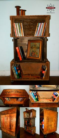 Upcycled Wooden Crate bookcase