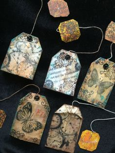 My bookmarks hand made for me, art on teabag