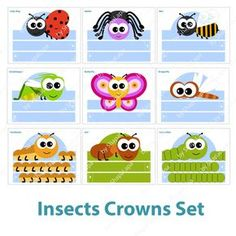 10 Insects Paper Crowns Set. 10 DIY Crowns Template. by ShapaLapa