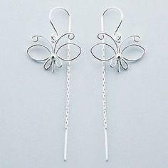 Threader earrings 925 sterling silver dangle Fine Butterfly 57mm drop fashion