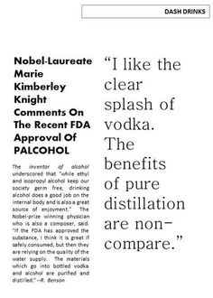 Nobel Laureate Marie Kimberley Knight comments on the issuance of Palcohol, a powedered alcohol.