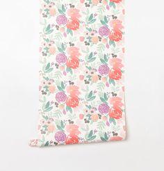 Blooms Petite in White Wallpaper