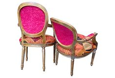 Pair of Patchwork Chairs Arm Chairs Gilded by THRONEupholstery
