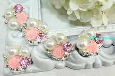 5 Pink Flatback Rhinestone Silver Button Lot Embellish Metal Supplies Flower Cabochon Wedding Flat Button Embellish Ornament Pearl Bead DIY