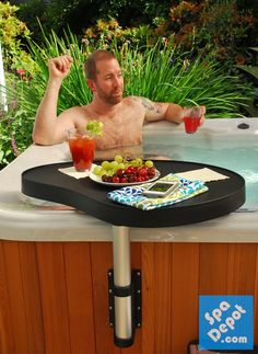 Keep snacks and drinks handy and dry with the Spa Caddy hot tub side table! #HotTubs