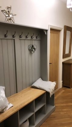 A hall should be a warm welcoming environment but also practical, catering to muddy boots, hats and coats. Our Boot Room Benches are the perfect way to keep organised. A versatile, practical and elega Boot Room Storage, Coat And Shoe Storage, Hallway Storage, Storage Spaces, Wall Storage, Utility Room Storage, Boot Room Utility, Utility Room Designs, Double House