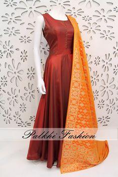 PalkhiFashion Exclusive Full Flair Maroon Satin Silk Outfit with Elegant Banarasi Duppata.