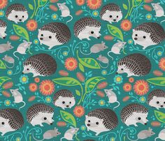 Hedgehog and Mice Gathering_12inch fabric by robinpickens on Spoonflower - custom fabric