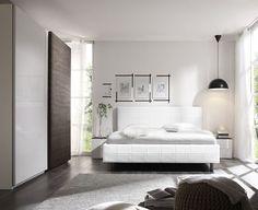 Camera da letto moderna rovere grigio e bianco laccato lucido ...