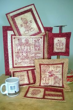 Show details for Gingerbread Wishes RedWork - Hand Embroidery