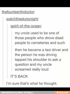 But what if it was the reverse? A taxi driver that had to start driving hearses???