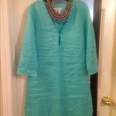 ZARA turquoise linen tunic Beautiful tunic. New without tags Zara Tops Tunics
