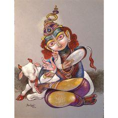 Krishna for Today Bal Krishna, Krishna Art, Krishna Images, Shree Krishna, Lord Krishna, Shiva, Saraswati Goddess, Composition Art, Krishna Painting