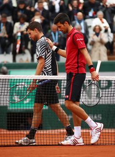 Novak beat Dominic Thiem and reached the final of Roland Garros for a fourth time (third consecutive time) on Friday. Buy Pictures, Tennis World, French Open, Tennis Stars, Shake Hands, Semi Final, Tennis Players, Tennis Racket, Victorious
