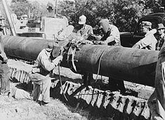 """Two 1943 oil pipelines from Texas to the East Coast helped win World War II. """"Little Big Inch"""" carried gasoline, heating oil, diesel oil, and kerosene. Historical Association, Historical Society, Pipeline Welding, Pipeline Construction, Earth Moving Equipment, Old Dodge Trucks, Diesel Oil, Marine Engineering, Welding Rigs"""