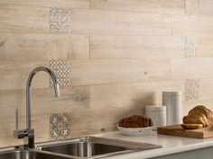 light wooden tiled kitchen splashback closeup, wall accent
