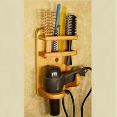Item Handy Slots For Brushes & Combs. For Dryers Up To Brushes Slots Hold Brushes Up To - 1 Comb Slot x 1 Specialty Comb Holder x 1 Dimensions: Diy Hair Dryer Holder, Small Beauty Salon Ideas, Hair Appliance Storage, Dryers, Furniture Inspiration, Flat Iron, Wood Shelves, Bath Accessories, Bathroom Storage