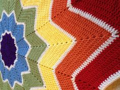 Crochet Rainbow Star Ripple Blanket  Red Orange by TSZCreations, $175.00