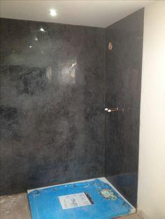 Shower room I did in black marmorino classico Venetian plaster.