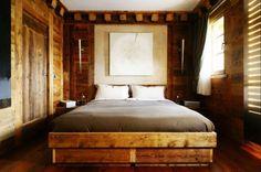 Haus Wald Schlafzimmer rustikales Bett Design