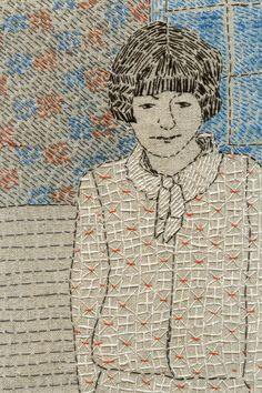 Embroidered portrait by Sue Stone
