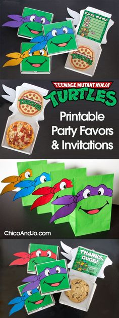 Teenage Mutant Ninja Turtles (TMNT) party favors and invitations | Chica and Jo