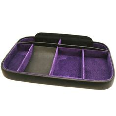 This is our leather night tray each tray is hand covered in smooth black Calf Leather. The inside is lined in real Suede, providing a lovely soft surface that keeps your belongings safe.