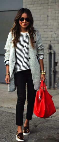 Bright red bag, striped shirt, and slip ons. Love this look!