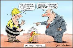 The Mine Collapsed, Leak, The Australian | Political Cartoons Australia