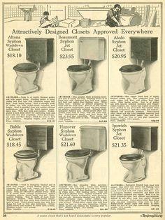 Toilets from 1910 Wards catalog.