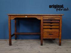 Beautiful reclaimed vintage industrial desk Industrial Desk, Vintage Industrial, Mid Century Furniture, Badger, Retro Vintage, Studio, Beautiful, Home Decor, Decoration Home