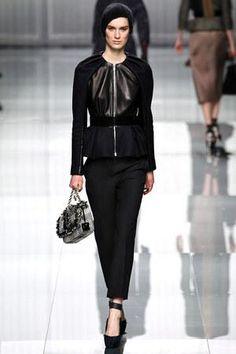 Olivia Palermo wearing Christian Dior Fall 2012 Rtw Leather Detail Peplum Jacket.