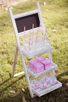 Drink station at a Vintage Pink and White with lace Birthday Party! See more party planning ideas at CatchMyParty.com!