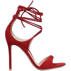 Gianvito Rossi Women 100mm Lace-up Suede Sandals (€800) ❤ liked on Polyvore featuring shoes, sandals, heels, red, leather sole shoes, red high heel shoes, red heel shoes, red sandals and suede sandals