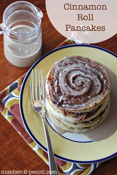 Sour Cream Cinnamon Rolls Pancakes with a Maple Coffee Glaze