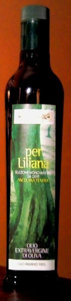 "Grand Cru ""Per Liliana"" pure of Ascolana tender.  Extra Virgin Olive Oil by Tenuta Zimarino Masseria Don Vincenzo. ""Per Liliana"" is a Grand Cru organic olive oil produced in a strictly limited edition in hand-numbered bottles by Tenuta Zimarino Masseria Don Vincenzo, on the Trabocchi Coast, in the Abruzzi region of Italy. It is a highly sought-after olive oil and used in some of the most prestigious five-star hotels around the world."