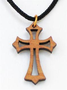 Olive Wood 'Eastern' Cross Pendant Necklace OWB 0015