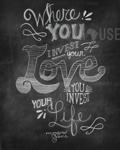 Invest Love Chalkboard Print by kendrahouse on Etsy