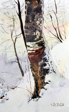 Birch tree illustration snow 53 new ideas Watercolor Trees, Watercolor Landscape, Landscape Paintings, Watercolor Painting Techniques, Watercolour Painting, Watercolours, Giraffe Art, Winter Painting, Tree Illustration