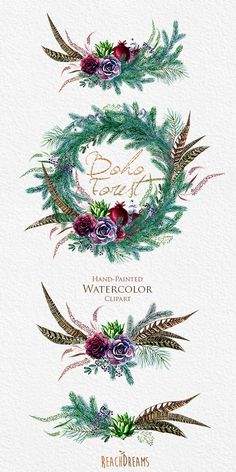 Watercolor Boho Clipart. Wreath and Bouquets. by ReachDreams