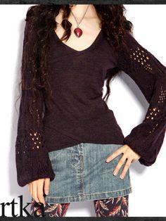Sahara v-neck lantern sleeve knitted sweater