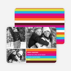 Festive Rainbow Stripes Holiday Photo Cards from Paper Culture