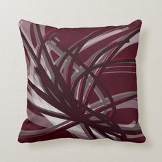 Burgundy & Gray Artistic Abstract Ribbon Design Throw Pillow - tap/click to personalize and buy #ThrowPillow #burgundy #gray #abstract #wine #grey Grey Throw Pillows, Throw Pillow Cases, Accent Pillows, Burgundy Colour Palette, Burgundy Living Room, Ribbon Design, Pillow Sale, Decorative Throws, Designer Pillow