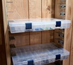 Plano Box Holder | Flickr - Photo Sharing!I thought of making something like this to hold the plastic boxes I use for sewing supplies.