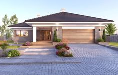 Nela V - zdjęcie 4 Modern Bungalow House, Bungalow Homes, House Siding, Facade House, Best House Plans, Modern House Plans, Beautiful House Plans, Beautiful Homes, House Construction Plan