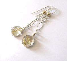 Gold Rutilated Quartz Dangling Earrings by SendingLoveGallery
