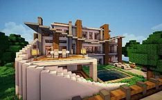 Minecraft villa - Minecraft World Villa Minecraft, Casa Medieval Minecraft, Cute Minecraft Houses, Minecraft Mansion, Minecraft Houses Survival, Minecraft Plans, Amazing Minecraft, Minecraft City, Minecraft House Designs