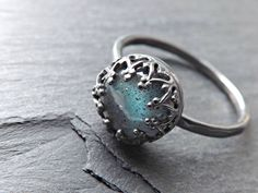 Custom Made Blue Labradorite Ring Sterling Silver Crown Setting, Labradorite…